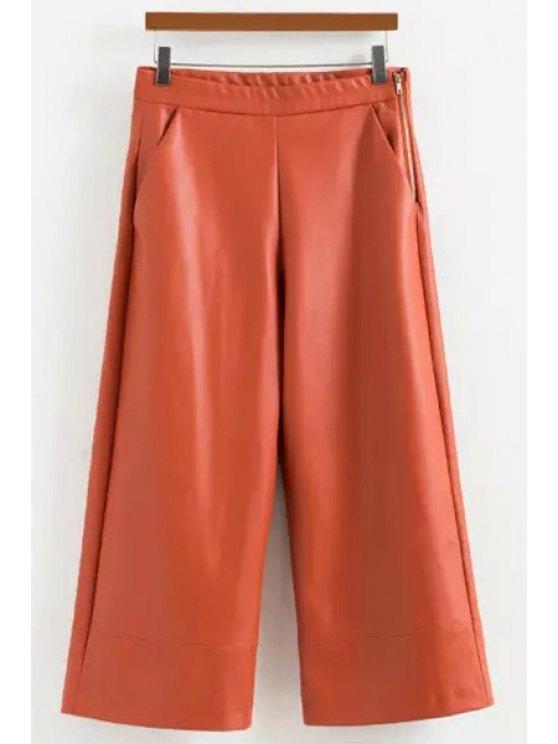 chic Wide Leg PU Leather Capri Pants - ORANGE S