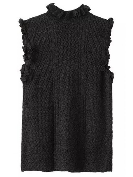 shops Ruff Collar Sleeveless Cable Knit Jumper - BLACK S