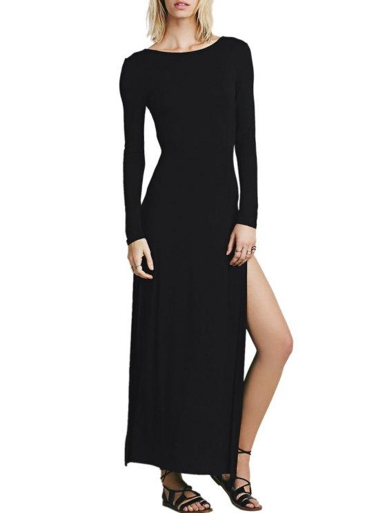 lady Black Scoop Neck Long Sleeve Maxi Dress - BLACK M