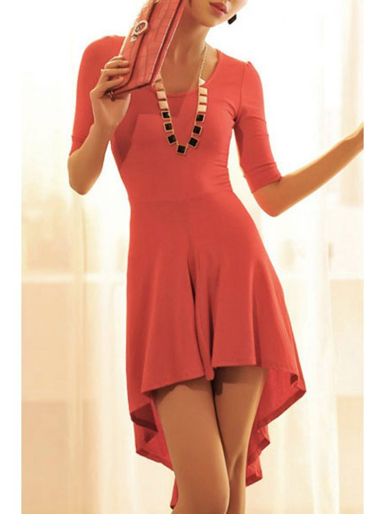 outfits Solid Color Scoop Neck Half Sleeve Dress - RED S