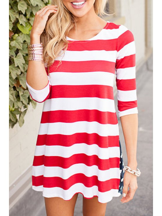 best Striped Half Sleeves Round Collar Plus Sized Dress - RED WITH WHITE S