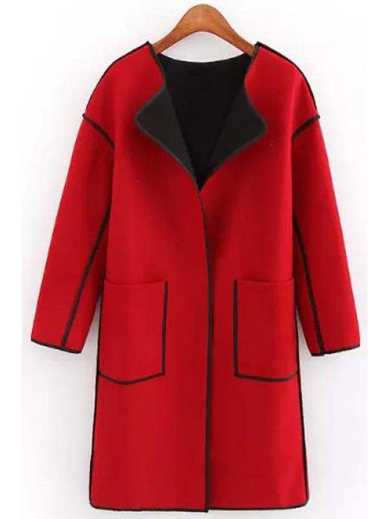 fancy Round Neck Big Pockets Wool Coat - RED S