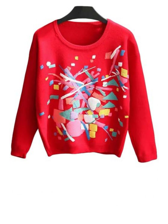 sale Round Neck Colorful Jumper - RED ONE SIZE(FIT SIZE XS TO M)