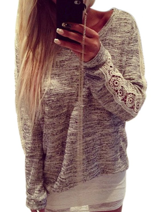 outfits Lace Spliced Long Sleeve Gray T-Shirt - GRAY S