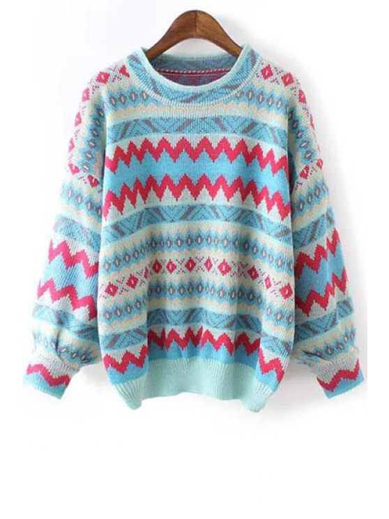hot Geometric Pattern Jacquard Sweater - COLORMIX ONE SIZE(FIT SIZE XS TO M)
