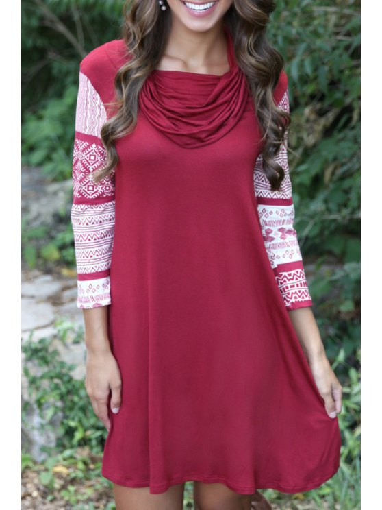best Geometric Print 3/4 Sleeves Heaps Collar Dress - WINE RED S