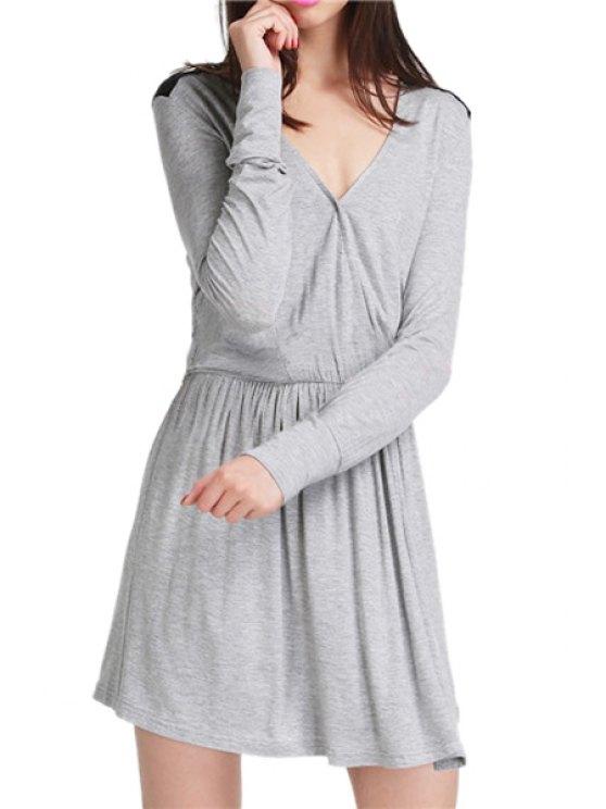 women's Color Block V Neck Long Sleeve Dress - GRAY S