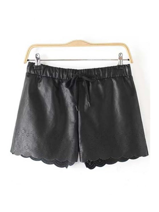 chic Wide Leg Hollow Out PU Leather Shorts - BLACK S