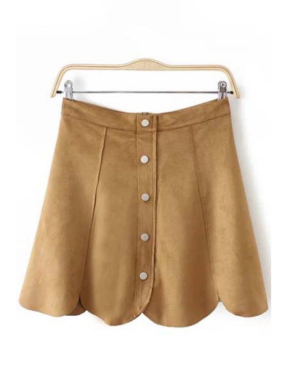 new A Line Mini Suede Skirt - KHAKI S