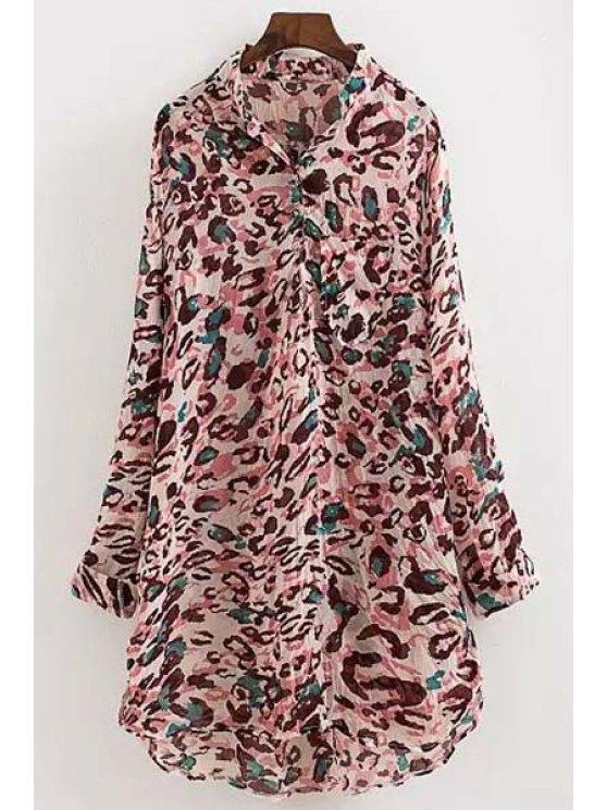 shop Colorful Leopard Print Chiffon Shirt - COLORMIX M