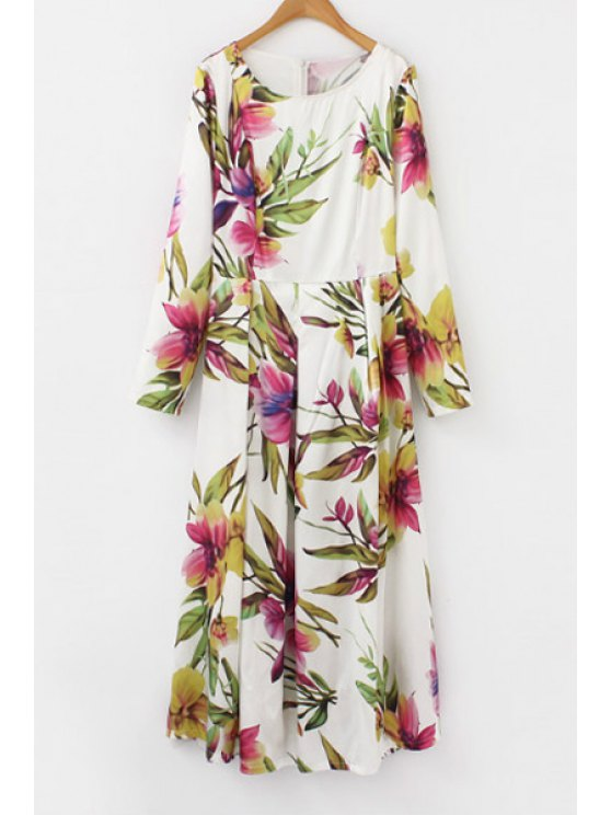 best Floral Scoop Neck Long Sleeve Maxi Dress - PEACH RED S