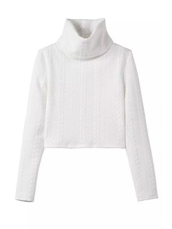 lady White Turtle Neck Long Sleeve Jumper - WHITE S