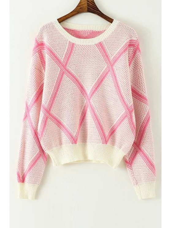 affordable Argyle Round Collar Long Sleeves Pullover Sweater - PINK ONE SIZE(FIT SIZE XS TO M)