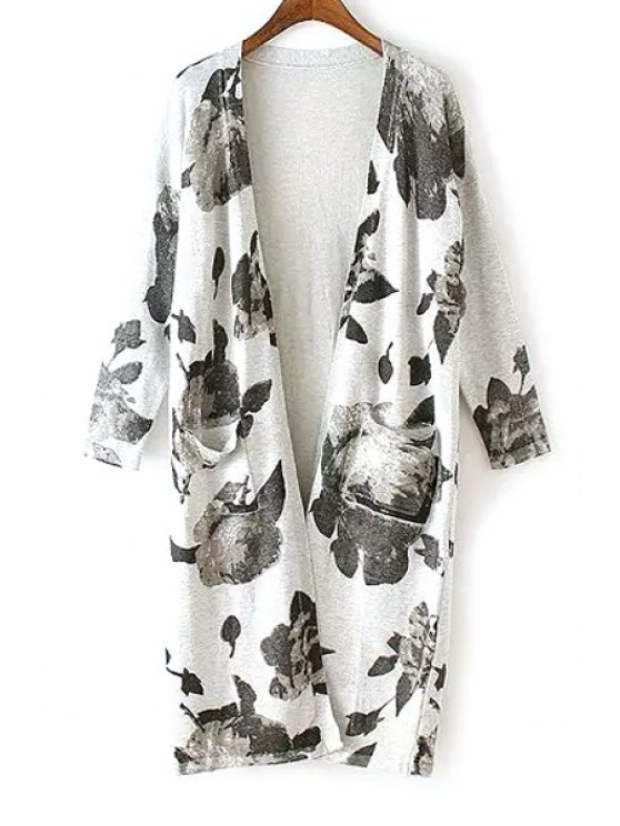 trendy Ink Floral Print Long Sleeve Cardigan - BLACK AND GREY ONE SIZE(FIT SIZE XS TO M)