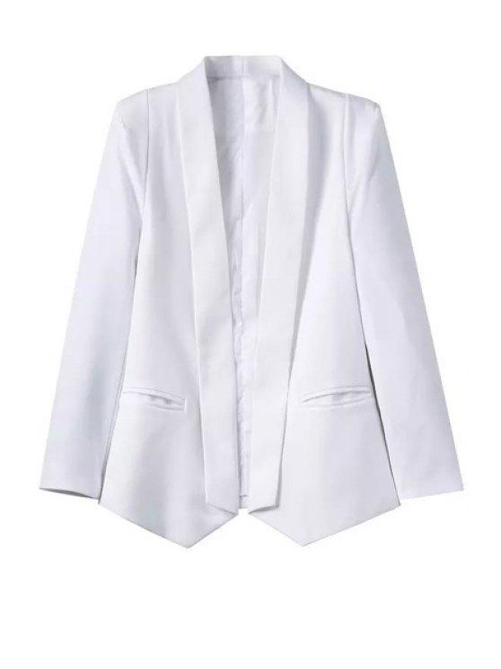 best White Shawl Collar Long Sleeve Blazer - WHITE S