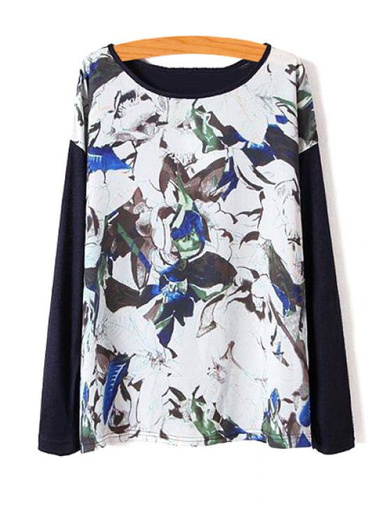 chic Floral Chiffon Spliced Long Sleeve Knitwear - AS THE PICTURE S