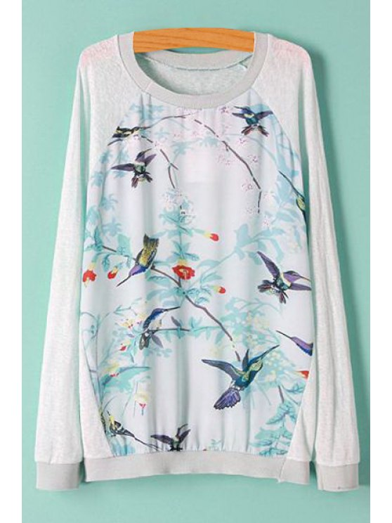 womens Bird Print Spliced Long Sleeve Knitwear - AS THE PICTURE S
