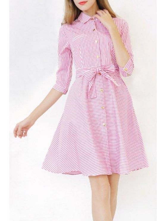 fashion Striped Shirt Neck 3/4 Sleeve A Line Dress - RED S