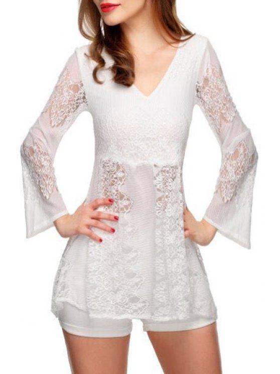 chic White Lace V Neck Long Sleeve Blouse - WHITE S