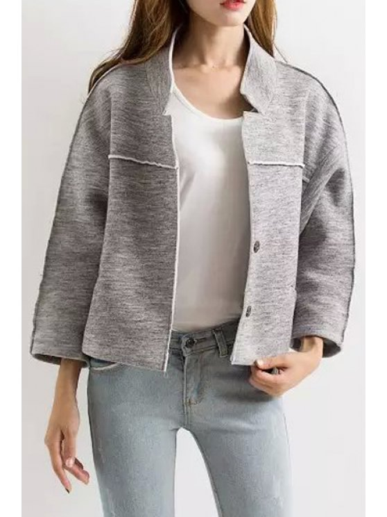 buy Stand Collar Back Character Print Jacket - GRAY S