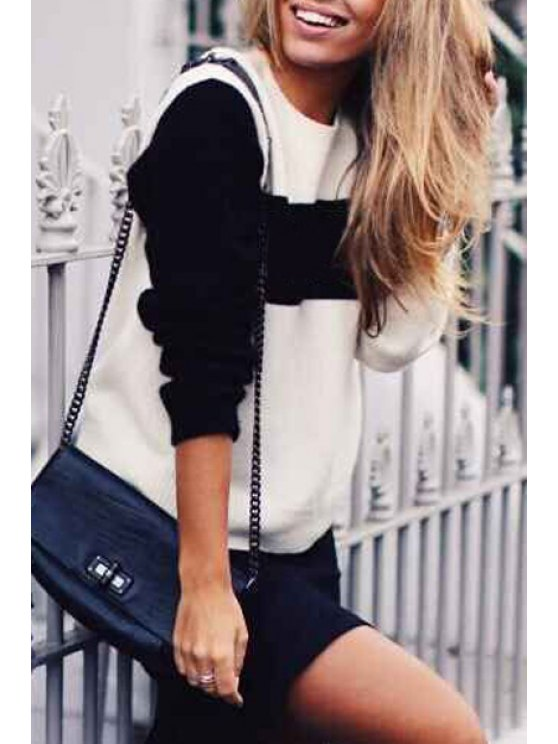 online Black and White Long Sleeves Jumper - WHITE AND BLACK ONE SIZE(FIT SIZE XS TO M)