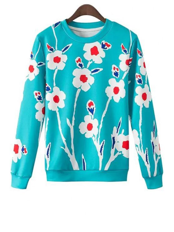 shops Floral Print Round Collar Long Sleeves Sweatshirt - BLUE S