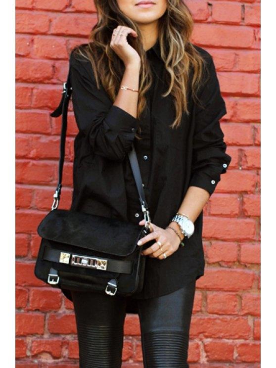 outfit Long Sleeve Boyfriend Shirt - BLACK M