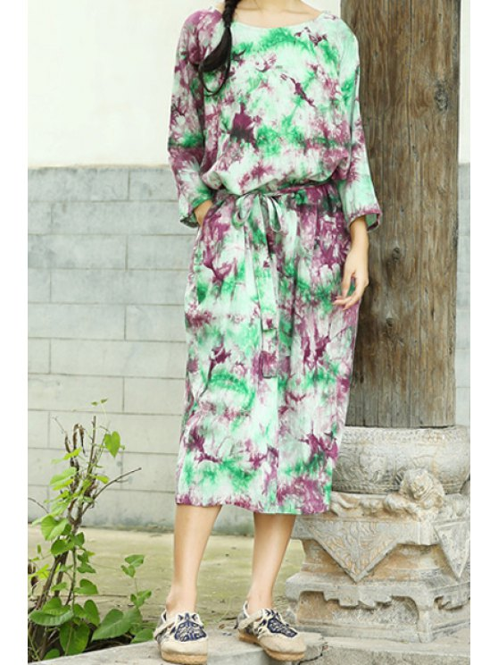 buy 3/4 Sleeve Colorful Midi Dress - COLORMIX ONE SIZE(FIT SIZE XS TO M)