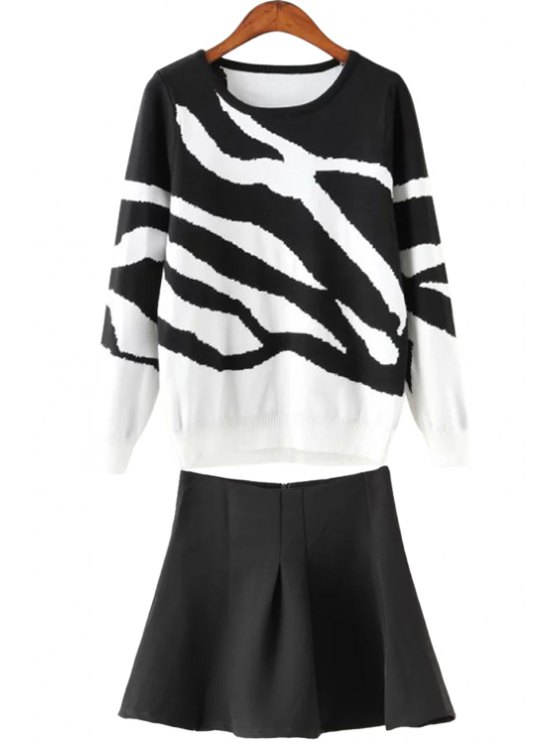 new Zebra Striped Pullover Sweater and Solid Color Skirt Twinset - WHITE AND BLACK S