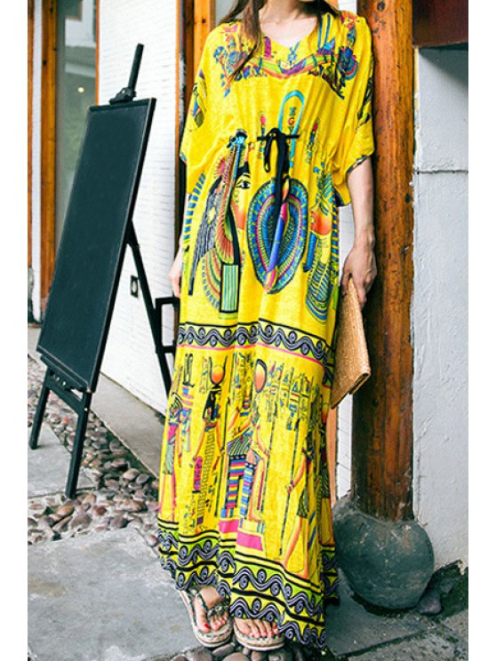 best Ethnic Print High Slit Drawstring Dress - YELLOW ONE SIZE(FIT SIZE XS TO M)