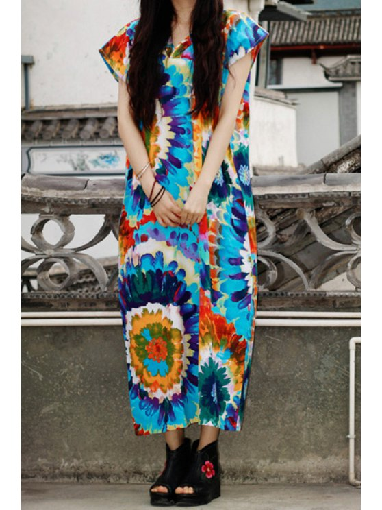 women Short Sleeve Colorful Straight Dress - BLUE ONE SIZE(FIT SIZE XS TO M)