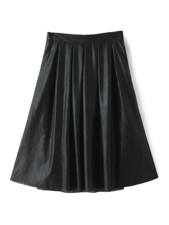 latest PU Leather Solid Color Hollow Out Skirt - BLACK S