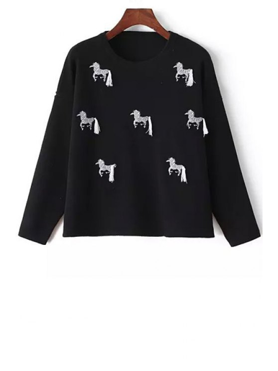 latest Round Neck Zebra Embroidery Jumper - BLACK ONE SIZE(FIT SIZE XS TO M)