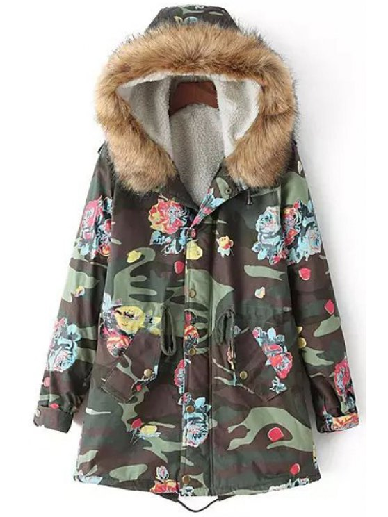 buy Hooded Fleece Lining Camouflage Coat - GREEN M