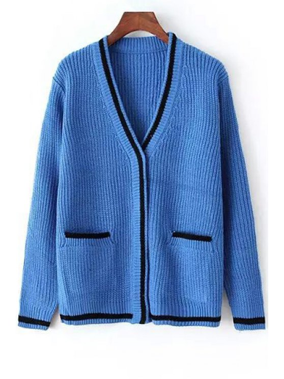affordable V-Neck Two Pockets Cardigan - BLUE ONE SIZE(FIT SIZE XS TO M)