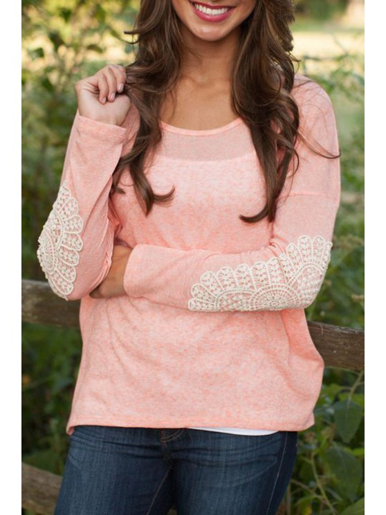 fashion Pink Scoop Neck Long Sleeve T-Shirt - PINK S