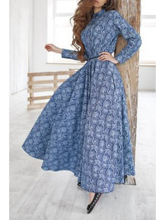 trendy Print Stand Neck Long Sleeve Maxi Dress - BLUE S