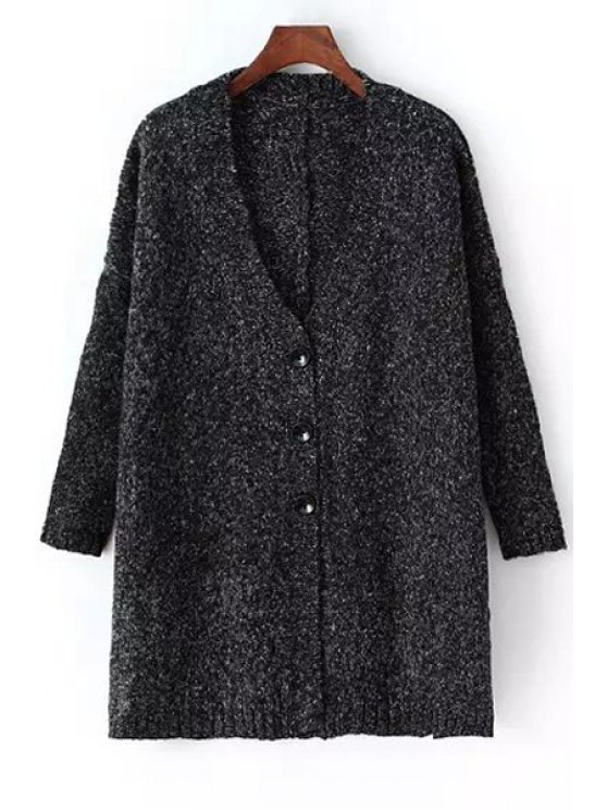 chic V-Neck Single-Breasted Longline Cardigan - BLACK ONE SIZE(FIT SIZE XS TO M)