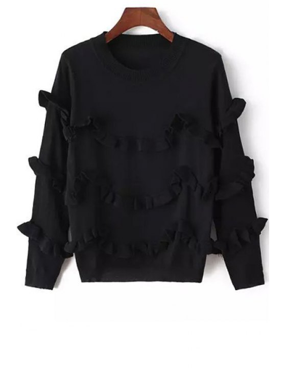 women Round Neck Flouncing Jumper - BLACK ONE SIZE(FIT SIZE XS TO M)