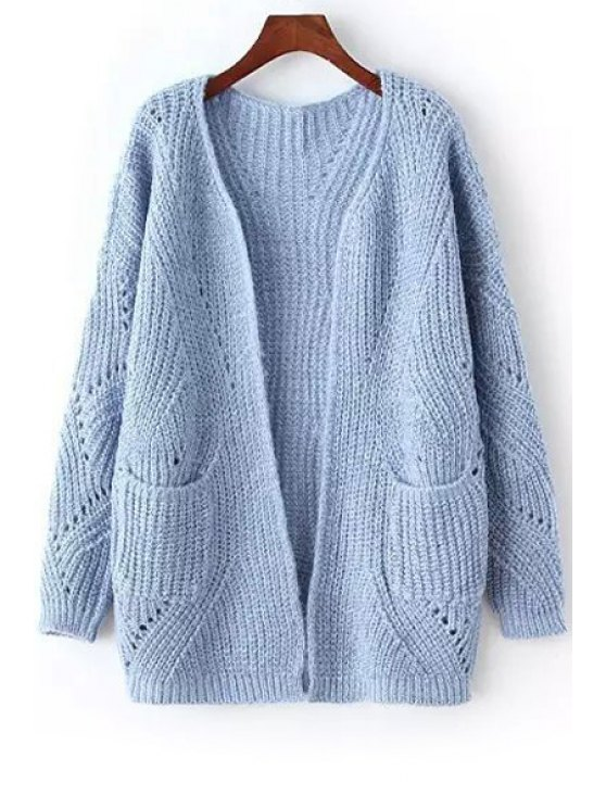 online Open Front Openwork Long Cardigan - BLUE ONE SIZE(FIT SIZE XS TO M)