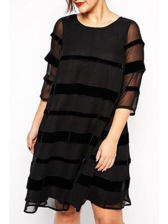 women's Black Half Sleeve Loose Dress - BLACK 3XL