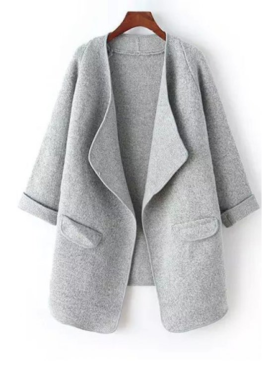 fashion 3/4 Sleeve Solid Color Cardigan - GRAY ONE SIZE(FIT SIZE XS TO M)
