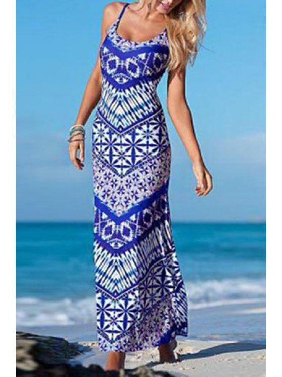 buy Tropical Print Cami Maxi Dress - BLUE S