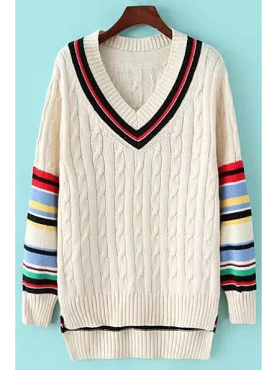 trendy V-Neck Striped Cable Knit Sweater - OFF-WHITE ONE SIZE(FIT SIZE XS TO M)