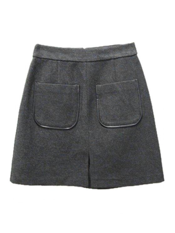 fancy Pocket Stylish Solid Color Wool Women's Skirt - GRAY S