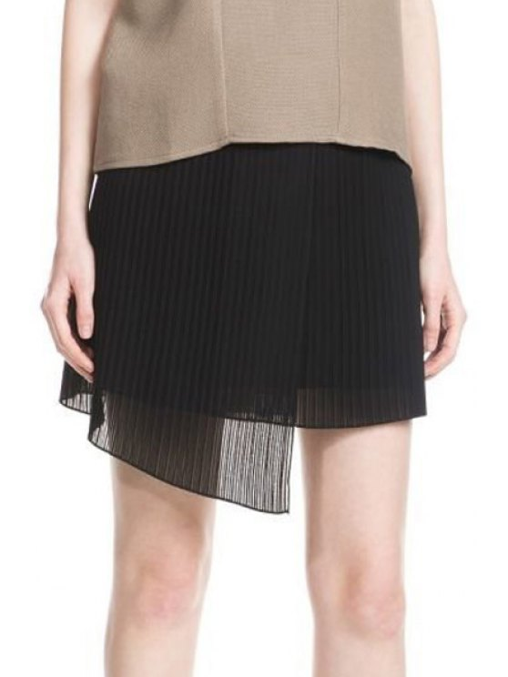 women Solid Color Chiffon Spliced Asymmetric Skirt - BLACK M