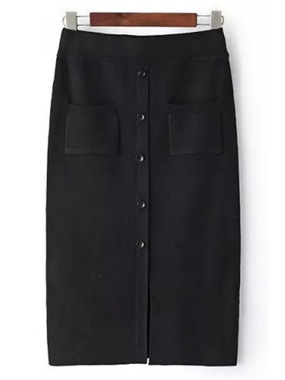 hot Single Breasted Solid Color Pencil Skirt - BLACK ONE SIZE(FIT SIZE XS TO M)