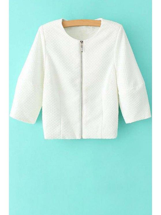 ladies Round Neck Half Sleeve White Jacket - WHITE S