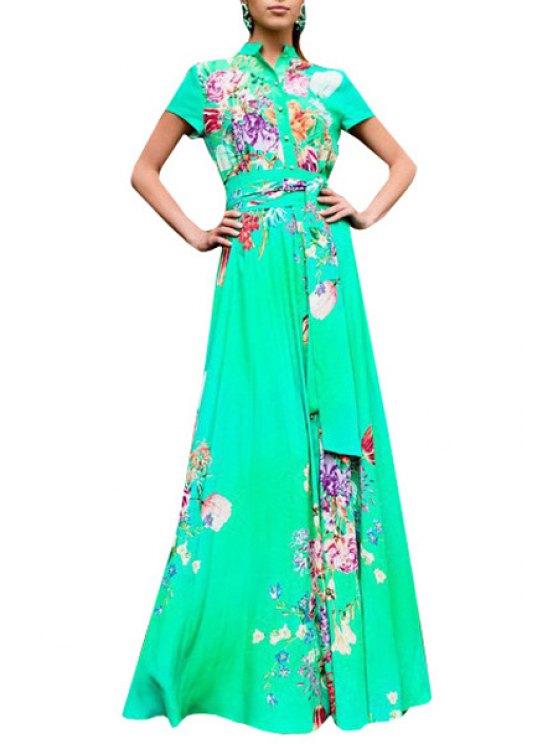 women's Floral Stand Collar Short Sleeve Maxi Dress - GREEN S