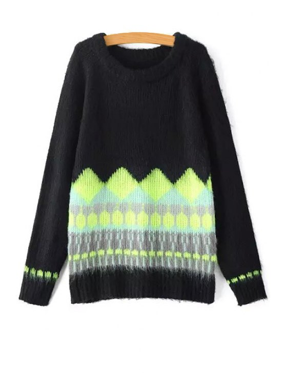chic Round Neck Hit Color Sweater - BLACK S